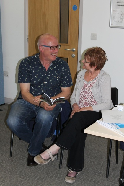 Poet James Nash with Chris Moran at the launch of her book